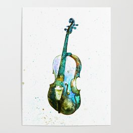Blue cello, watercolor Poster