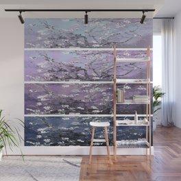 Vincent Van Gogh : Almond Blossoms Panel Art Dark Blue Purple Lavender Wall Mural