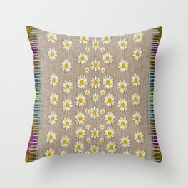 Star fall of fantasy flowers on pearl lace Throw Pillow