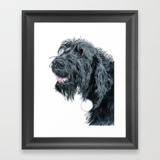 Smiling Black Labradoodle Framed Art Print