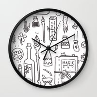 kit king Wall Clocks featuring Wizard's Kit by cotey bucket