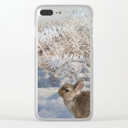 Blue Snow Bunny Clear iPhone Case
