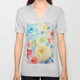 Watercolor Abstract Floral Pattern Ranunculus  Unisex V-Neck