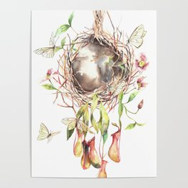 Butterflies' home Watercolor Surreal Art Nepenthes Poster