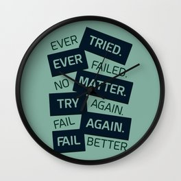 Lab No. 4 Ever Tried Samuel Beckett Motivational Quotes Wall Clock