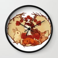 fawn Wall Clocks featuring fawn by chazstity