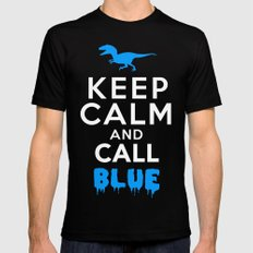 Keep Calm and Call Blue | Jurassic Raptor Dinosaur Mens Fitted Tee MEDIUM Black