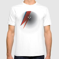 Round Bowie White MEDIUM Mens Fitted Tee