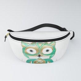 Owl Fun #4 #mint #green #gold #drawing #decor #art #society6 Fanny Pack
