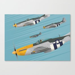P51 Mustang Flying in Formation Canvas Print