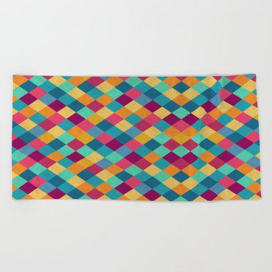 Colored Diamonds Beach Towel