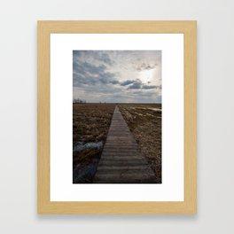 A wooden path over wetlands Framed Art Print