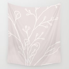 Spray   Pointe Pink   Modern Abstract Linear Foliage Wall Tapestry