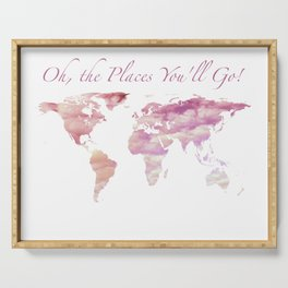 Cotton Candy Sky World Map - Oh, the Places You'll Go! Serving Tray