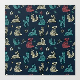 Cute Whimsical Forest Animals Pattern Canvas Print