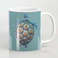 sea turtle Mugs featuring Turtle by Elise Cayouette