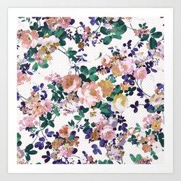 Pink teal purple gold polka dot flowers Art Print
