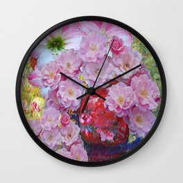 RED FLORAL VASE OVER FLOWING WITH PINK ROSES Wall Clock