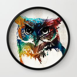 Colorful Owl Art - Wise Guy - By Sharon Cummings Wall Clock