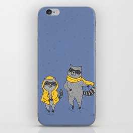 Father and daughter raccoon playing in the rain iPhone Skin