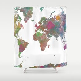 World Map - Watercolor 4 Shower Curtain