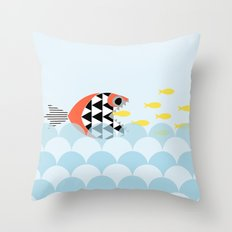 Mean fish Throw Pillow