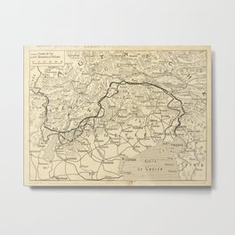 Vintage Map Print - Hand-drawn map of the Italian Front in World War I Metal Print