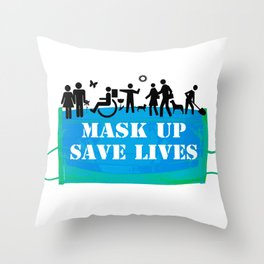 Mask Up Save Lives People 1 Throw Pillow