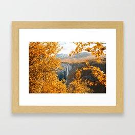 Fall waterfall Framed Art Print