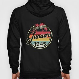 Vintage 80s January 1945 75th Birthday Gift Idea Hoody