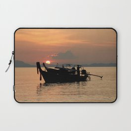 Long-tail boat at sunset in Thailand Laptop Sleeve