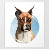 Boxer Dog Watercolor Painting 3 Art Print