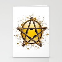 pentagram Stationery Cards featuring Flower Pentagram by The Painted Kat