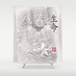 Find Your Bliss {Black & White} Buddha Art Print Shower Curtain