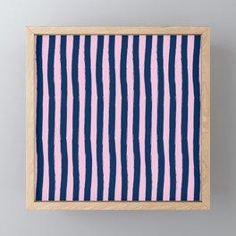Blue and Pink Cabana Stripes Palm Beach Preppy Framed Mini Art Print