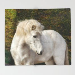 White horse in the autumn forest Throw Blanket
