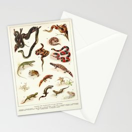 Adolphe Millot - Batraciens et reptiles - French vintage zoology poster Stationery Cards