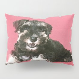 Miniature Schnauzer Puppy Watercolor Digital Art Pillow Sham