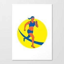 Female Triathlete Marathon Runner Retro Canvas Print