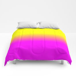 Neon Yellow and Bright Hot Pink Ombré  Shade Color Fade Comforters