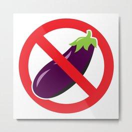 "Aubergine Nightmare ""No Eggplant"" Logo Metal Print"