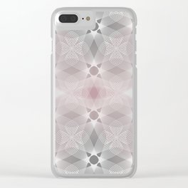 Colliding Circles in Grey and Pink Clear iPhone Case
