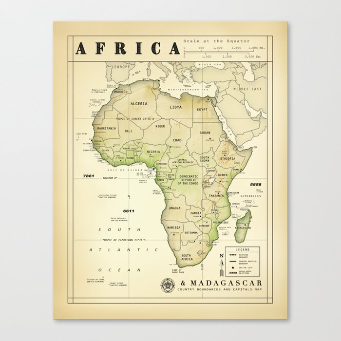 Map Of Africa Madagascar.Africa And Madagascar Vintage Inspired Map Print Canvas Print By Kokuadesigncompany