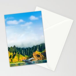Hawaii whale watching boat tour at Na Pali Coast beach Stationery Cards