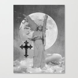 Angel Lady Woman Cross Moon Devotion Black White Gothic Art A625 Canvas Print