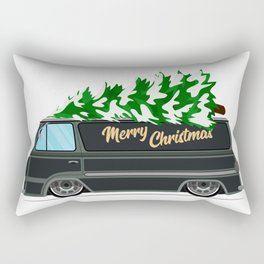 Vintage green car with Christmas tree. Christmas picture. Green truck vector illustration. Rectangular Pillow