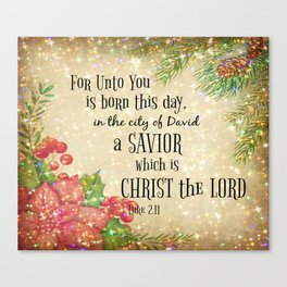 Christmas Bible Verse Typography Canvas Print