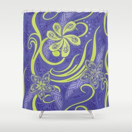 Polynesian Kiwi Lime Tropcal Floral Shower Curtain