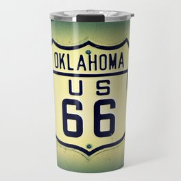 Historic U.S. old Route 66 sign in Oklahoma. Travel Mug