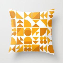 Mid Century Shape Art in Mustard Yellow Throw Pillow